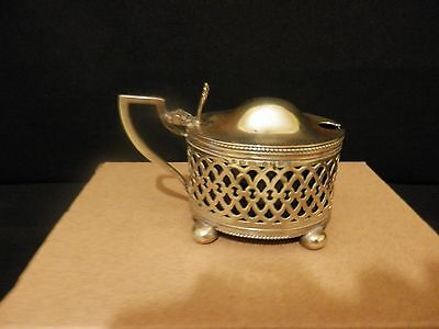 Silver Plate Mustard Pot H.w. Ltd With Blue Glass Liner