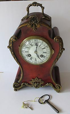 Antique Japy Freres 19th c mantel clock with key - some restoration needed to ca