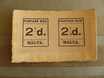 British Malta, Pair of Very Rare Stamps, Scott # J5a+J5, SCV is over $1,200.00.
