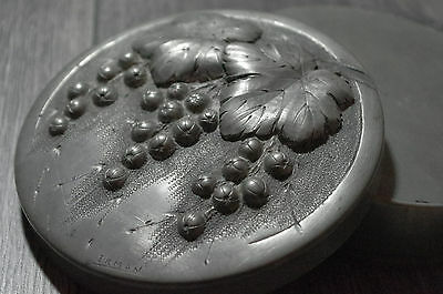 French Art Deco Hammered Pewter Dresser wine grapes leaves  Box repousse signed
