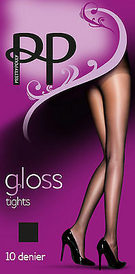 49a18fe3788 LADIES WOMENS 10 Denier Gloss Tights By Pretty Polly Uk Size Sm Ml ...