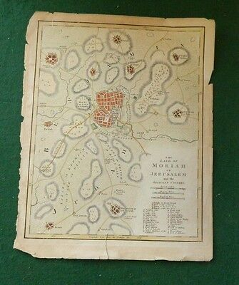 Land of Moriah or Jerusalem Map rare W. B. Annin late 1700s to early 1800s