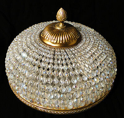 Antique french empire style gold bronze ceiling light Bronze Crystal balls 1020