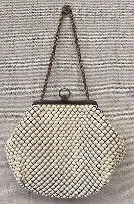 ALL ORIGINAL 1940's Vintage Art Deco GLOMESH Womens WHITE HAND BAG PURSE CHAIN