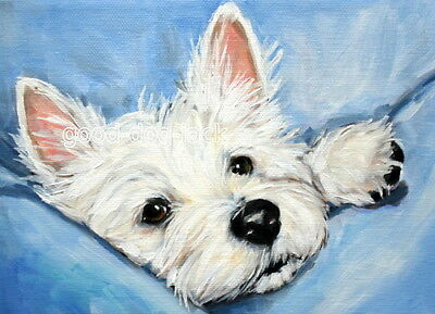 """West Highland Terrier WESTIE MATTED PRINT Painting """"PEEKING OUT"""" RANDALL"""