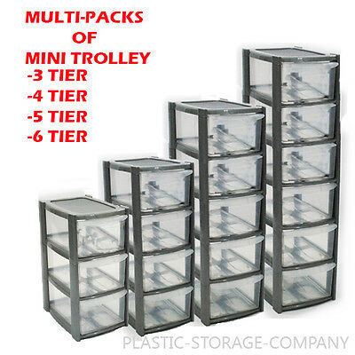Plastic Storage Tower -Multipacks 3/4/5/6 Drawer Handy Office Desktop Mini/Small