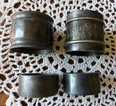 4 Odd Antique Silverplate or Silver Napkin Rings Trumpet Flower Flying Bee etc.