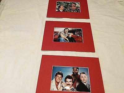 "Tom Selleck Magnum PI hand signed 6"" x 4"" photo matted to 8""x10"" + 2 x Unsigned"