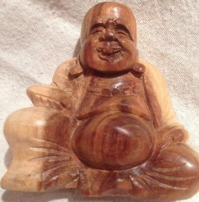 Tiny Wooden Happy Buddha Statue