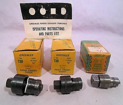 """3 Greenline Radio Chassis Round Punches 1/2"""" to 3/4"""" ****"""