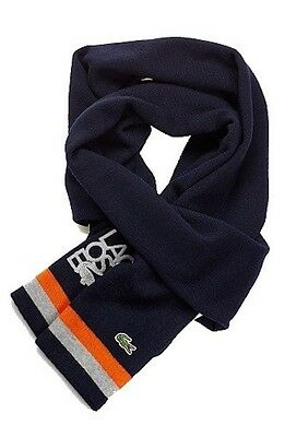 "Lacoste Navy Blue ""Marine"" 100% Wool Scarf $95 One Size NWT New"