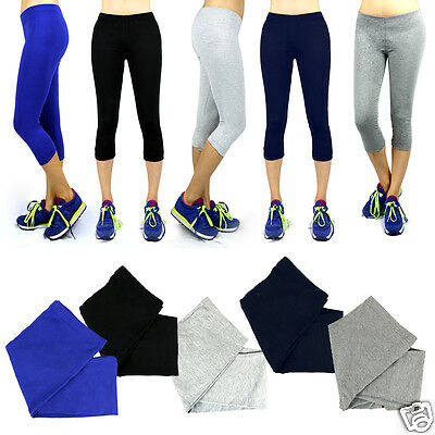 XXL Women Athletic Workout Fitness Training Yoga Waistband Tights Capri Pants