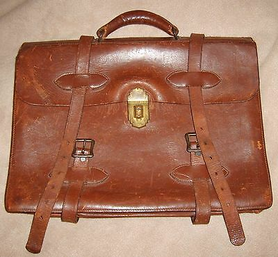 Antique Leather Briefcase, 12 x 16, Two Buckle, Brass Latch, Carry Handle, Brown