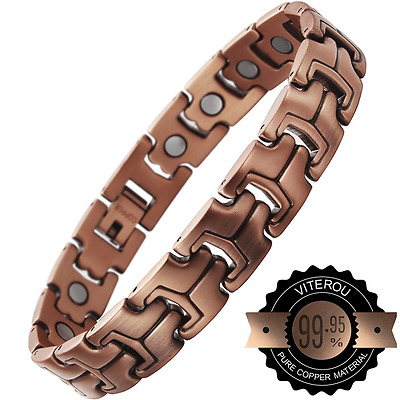 VITEROU Mens Magnetic Pure Copper Bracelet with High Powered Magnets Pain Relief