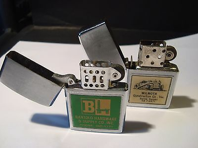 LOT OF 2 Vintage Flip Top   Advertising Lighters- BOTH WORKING-NEW FLINTS-