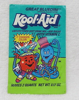 VINTAGE Kool-Aid GREAT BLUEDINI Drink Mix Packet Unopened 1990s changes color