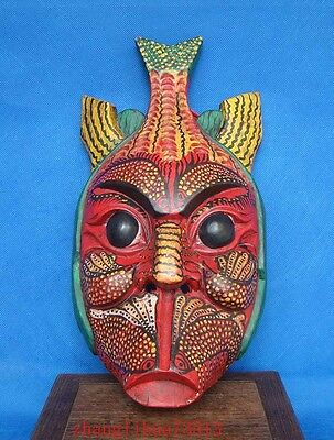 """Antique Handmade Carving colored drawing wood Mask God Fish Deco Art  13"""""""