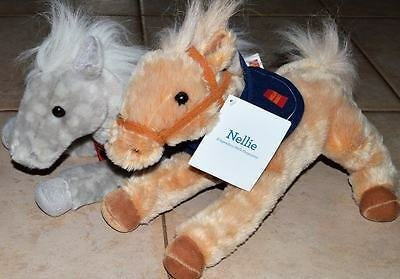 2 Wells Fargo Nellie & Shamrock Horse Advertising Plush Lot Stuffed Pony Animals