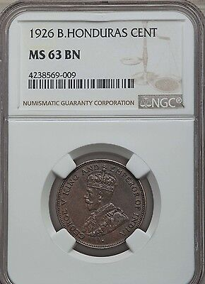 1926 British Honduras 1 Cent, NGC MS 63