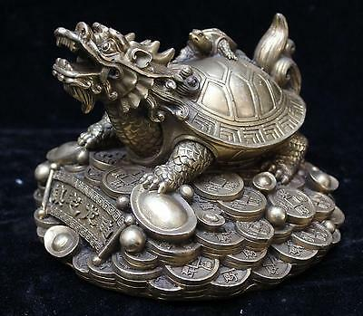 Classic Chinese FengShui Brass Dragon Turtle Tortoise Wealth YuanBao Coin Statue