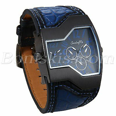 Men's Sports Military Army Dual Time Zones Leather Strap Date Quartz Wrist Watch