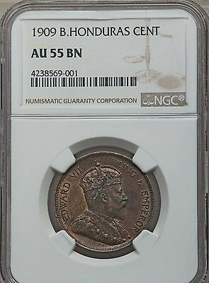1909 British Honduras 1 Cent, NGC AU 55, Scarce Key Date