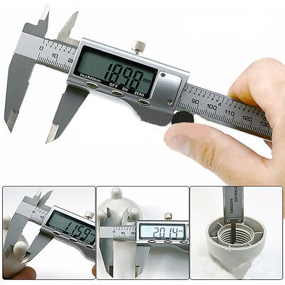 "6"" Stainless Steel Electronic Digital Vernier Caliper Guage LCD 150MM Micrometer"