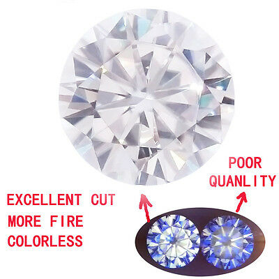 3 carat 9mm Loose Moissanite Round Brilliant Cut Near Colorless VVS1 Super White