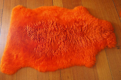 A Vibrant Orange Xlarge Pure Sheepskin Rug - Wonderful & Warm The Natural Way
