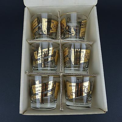 NOS Vintage Set OF 6 OLD TAYLOR 86 KENTUCKY STRAIGHT BOURBON GLASSES w/ BOX