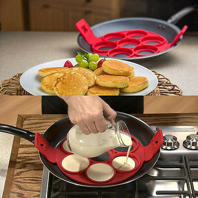 Premium Silicone Egg Ring Pancake Mold 7 hole Round Nonstick Mould Set Kit