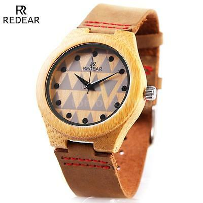 Fashion Men's Women's Bamboo Wood Watch Quartz Leather Wristwatch with Box I5D4