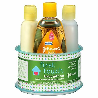Johnson's FIRST TOUCH Baby Gift Set 4PC Wash, Shampoo, Diaper Rash Cream, Lotion