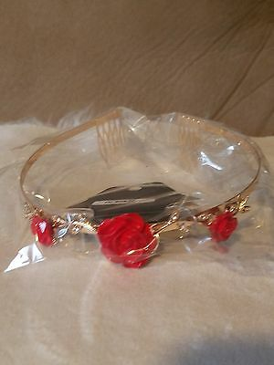 Disney's Beauty and the Beast Enchanted Red Rose Faux Gold Metal Tiara Crown NWT