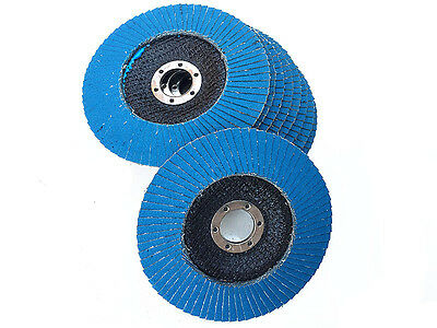 "10 x 125mm -5"" STEEL/STAINLESS STEEL FLAP DISCS WHEELS 120 grit 4 ANGLE GRINDER"