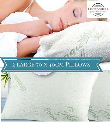 2x Extra Large Bamboo Memory Foam Pillows | Extra Large Size 70 x 40cm | Luxury