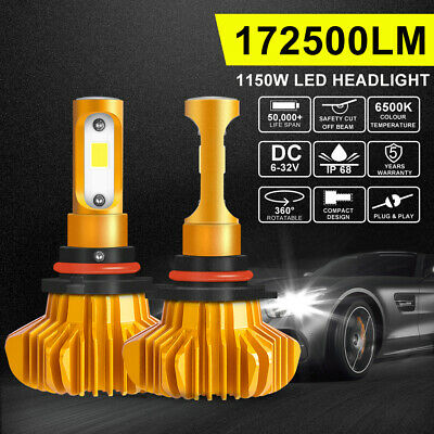 2x H4 CREE 200W LED Headlight Kit Car High Low Beam Globes Bulbs Upgrade 6500K