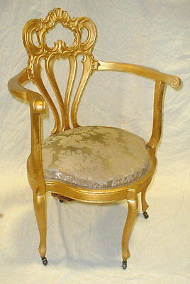 French Louis XV style corner chair with varnished gilded finish. One ... Lot 184