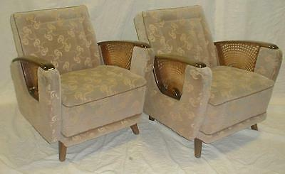 Pair of early mid-century deco arm chairs. Upholstered in cut velvet ... Lot 149