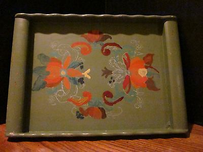 ANTIQUE WOOD TRAY Tole Painting Decorative Sides Handles SHABBY CHIC