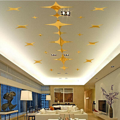 Gold Acrylic Art 3D Wall Mirror Stickers DIY Home Room Decals Decor Removable