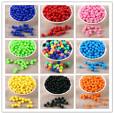 Wholesale Acrylic Round Candy colors Spacer Loose Beads 6/8/10/12mm Diy beaded