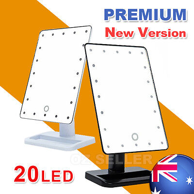 Portable 20 LED Light Makeup Mirror Touch Screen Beauty Stand Bathroom Cosmetic