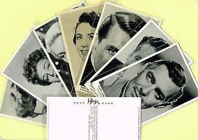 Star Souvenir Series - Film Star Postcards c1950 #1 to #72 issued in the UK