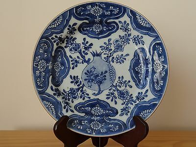 c.17th -  Antique Chinese Blue & White Kangxi Porcelain Pomegranate Plate