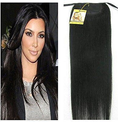 """16""""-22"""" TOP Silky Straight High Ponytail Clip in Remy Human Hair Extensions 100g"""
