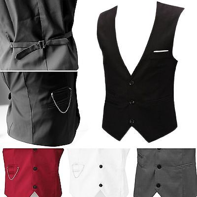 "Mens Waistcoat Formal Business Suit Slim Vest Chest Available M-4XL Size 35""-42"""