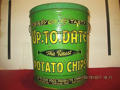 Vintage Up-To-Date Potato Chips  Advertising Potato Chip Tin Can (#18)