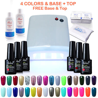 Belen 4 Colors Gel Nail Polish Base Top Coat 36W UV Lamp UK Plug Remover Wraps