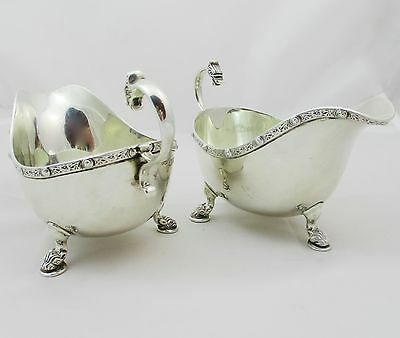 Pair Of Birmingham Solid Silver Sauce Boats Celtic Decoration Chester 1939